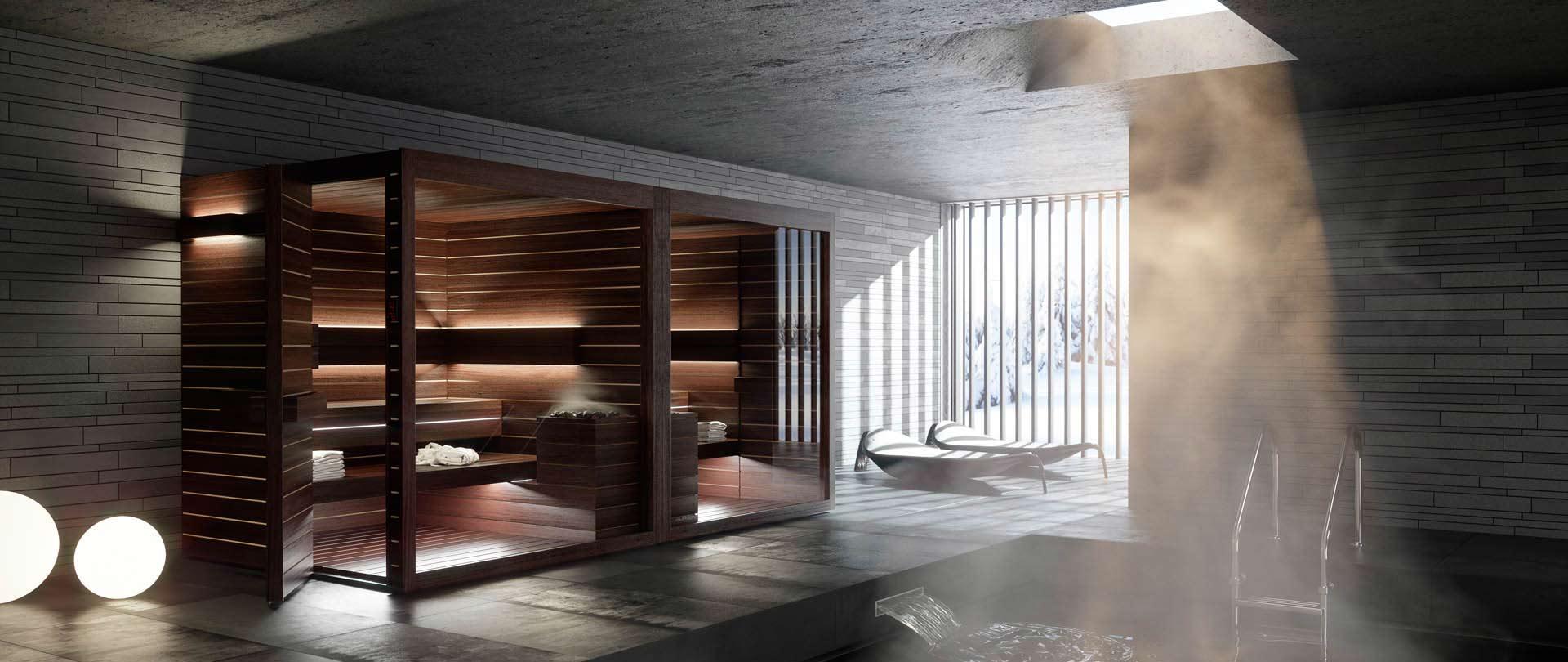 Sauna Interieur Bois Design Lumina Auroom Suisse Gex
