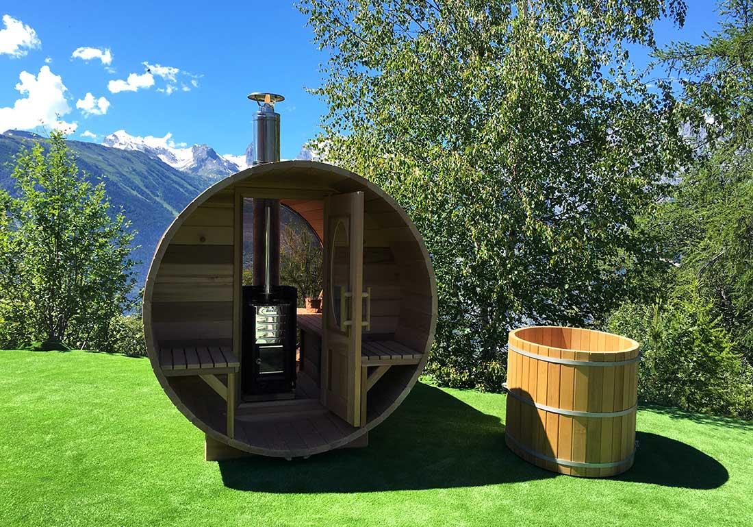 Sauna Traditionnel Poele Bois Exterieur Suisse Geneve